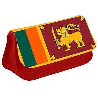 Sri Lanka Flag Printed Design Pencil Case for Stationary/Cosmetic - 0166 (Red) by i-Tronixs