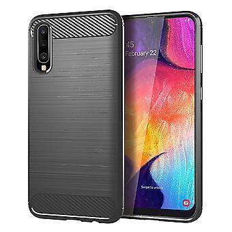Samsung Galaxy A50 TPU Case Carbon Fiber Optics Brushed Protection Case Grey