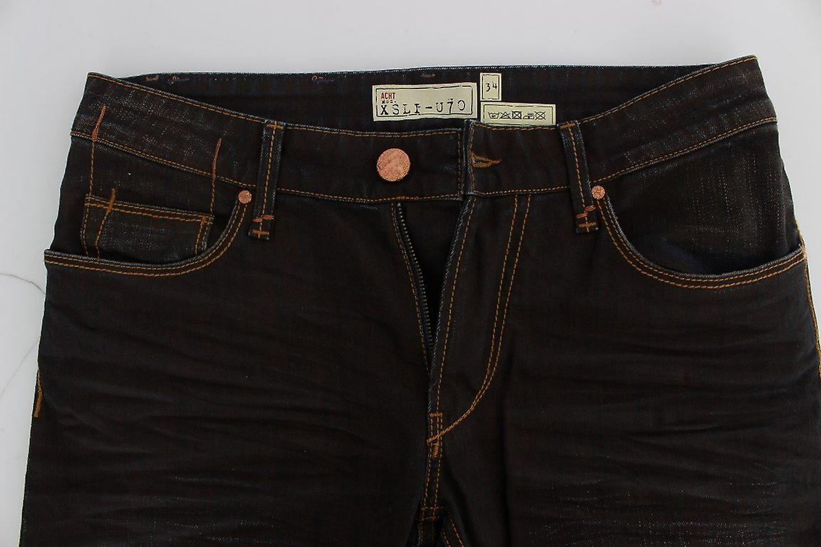 Brown wash cotton stretch slim fit jeans