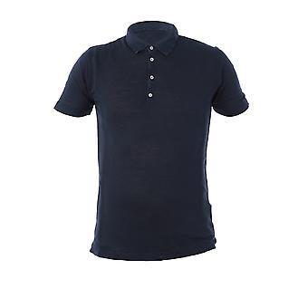 120% P0m7282000e908301p020 Men's Blue Linen Polo Shirt