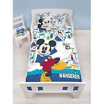 Mickey Mouse Wanderer 4 i 1 junior sängkläder bunt set (täcke, kudde