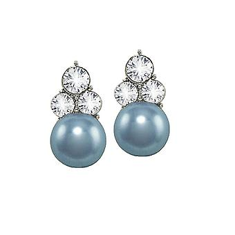 Eternal Collection Signature Powder Blue Glass Pearl And Crystal Silver Tone Stud Pierced Earrings