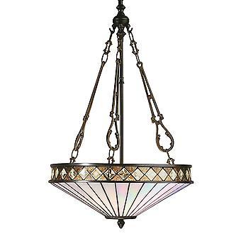 Fargo médio Tiffany estilo invertido três luz teto pendente - interiores 1900 64146