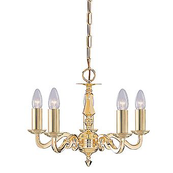 Seville Solid Brass Five Light Ceiling Light In Polished Brass Finish - Searchlight 2175-5NG