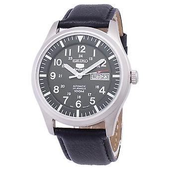 Seiko 5 urheilu automaattinen suhde musta nahka Snzg09k1-LS10 miesten ' s Watch