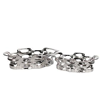 Astonishing decorative ceramic trays, set of 2, silver