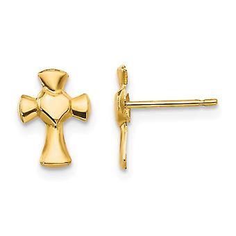 14k Gul Guld polerad Kärlek Hjärta religiös tro Cross Post Örhängen Smycken Gåvor för kvinnor