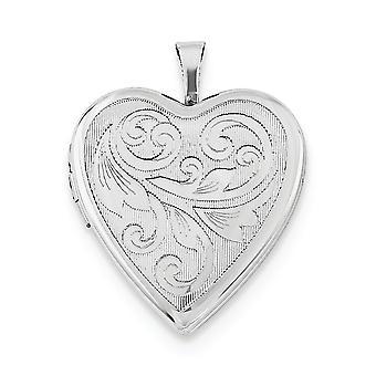 925 Sterling Silver 20 mm υφή και γυαλισμένο στροβιλισμού αγάπη καρδιά Photo μενταγιόν κολιέ κρεμαστό κόσμημα κοσμήματα για τις γυναίκες