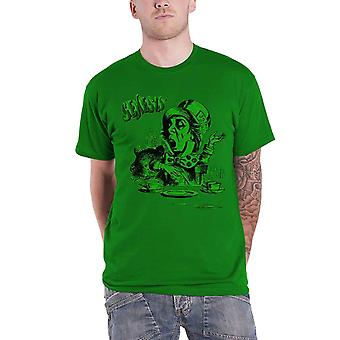Genesis Mens T Shirt Green Mad Hatter Character band Logo Official