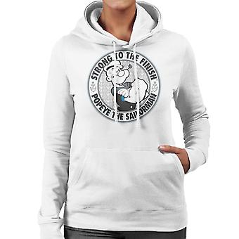 Popeye The Sailorman Strong To The Finish Women's Hooded Sweatshirt