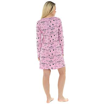 Ladies 100% Cotton Pussy Cat Print Nightdress Nighty Sleepwear