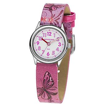 JACQUES FAREL Kids Wristwatch Analog Quartz Girl Faux Leather HCC 432 Pink