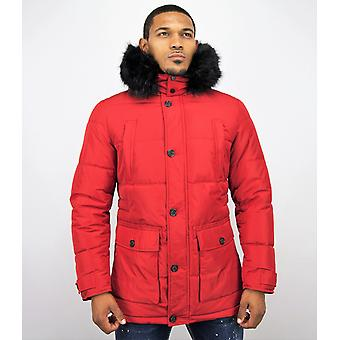 Long Winter coat - With Fur Collar - Red