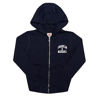 Infant Boys Franklin And Marshall Badge Logo Zip Hoody In Navy- Zip Fastening-