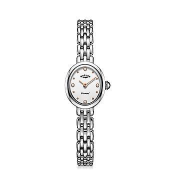 Obrotowy LB05150-02-D Damski's Owalny srebrny zegarek diamentowy