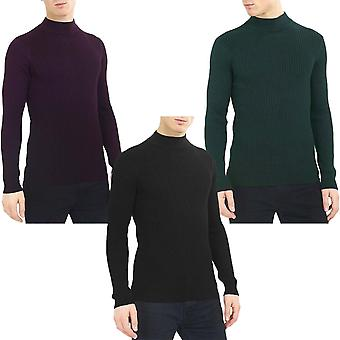 Brave Soul mens Mutant Långärmad roll hals Pullover polokrage tröja tröja