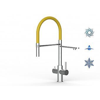5-vägsinox filter kran idealisk för Professionella gnistrande, släta och kylda vattensystem-borstad finish-gul-447