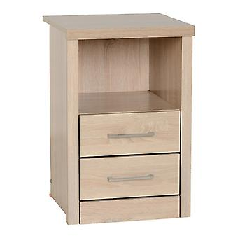 Lisbon 2 Drawer 1 Shelf Bedside Cabinet - Light Oak Effect Veneer