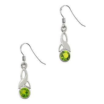 Celtic Holy Trinity Noeud Birthstone Small Drop Style Paire de boucles d'oreilles - Une pierre Peridot
