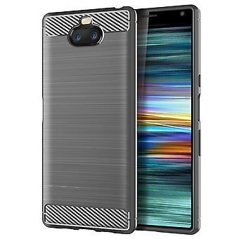 Sony Xperia 8 TPU Case Carbon Fiber Optik Brushed Schutz Hülle Grau