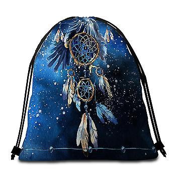 Blue Eagle Dream Catcher Beach Towel