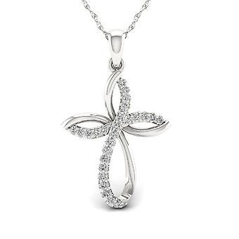 Igi certificado s925 plata 0.15ct tdw diamante infinito cruz colgante collar