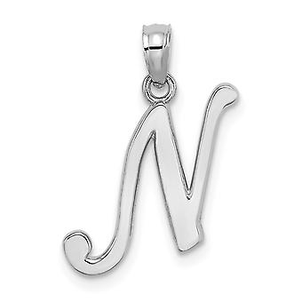14k White Gold N Script Initial High Polish Charm Jewelry Gifts for Women - .9 Grams