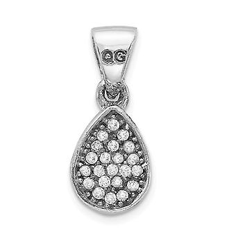 6mm 925 Sterling Silver Rhodium plaqué CZ Cubic Zirconia Simulated Diamond Polished Teardrop Pendant Necklace Bijoux Gi