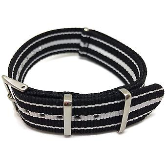 N.a.t.o zulu g10 style watch strap nylon 3 stripe black and white