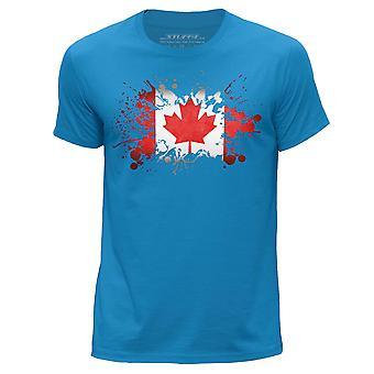STUFF4 Men's Round Neck T-Shirt/Canada/Canadian Flag/Blue