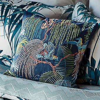 Palm House Designer Cushion By Sanderson In Indigo Purple Blue