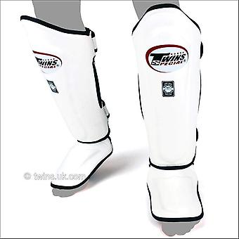 Twins special double padded leather shin guards - white