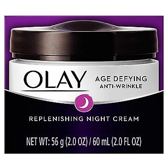 Olay age defying anti-wrinkle night cream, oil-free, 2 oz