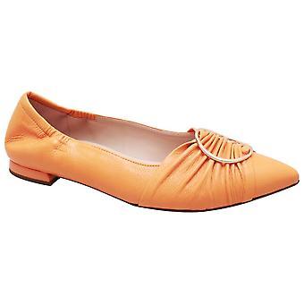 Hogl Mango Yellow Low Heel Ballet Pump With Gold Buckle