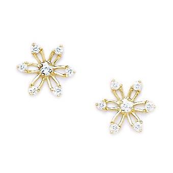 14k Yellow Gold CZ Cubic Zirconia Gesimuleerde Diamond Medium Star Schroef terug Oorbellen maatregelen 9x10mm sieraden geschenken voor Wo
