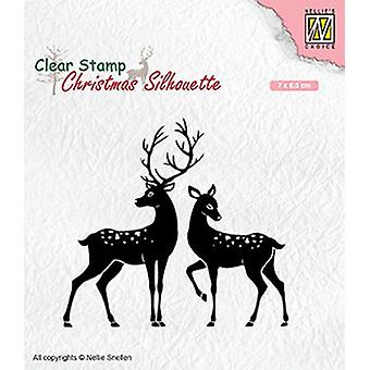 نيلي & أبوس؛s اختيار عيد الميلاد صورة ظلية واضحة الطوابع الغزلان CSIL006 70x65mm
