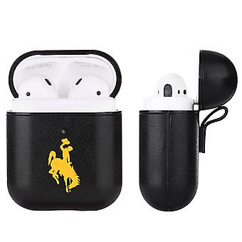 Wyoming Cowboys NCAA Fan Brander Zwart lederen AirPod Case