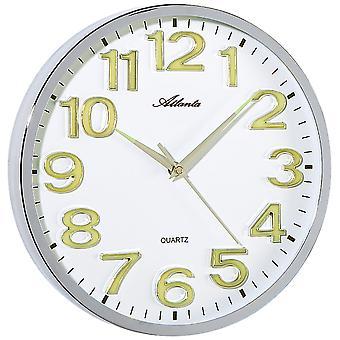 أتلانتا 4428/0 ساعة الحائط كوارتز الجولة الفضية التناظرية مع أرقام ليخت