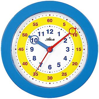 Atlanta 4481/5 Wall Clock for Kids Children's Wall Clock Learning Clock Blue Quiet Without Ticking