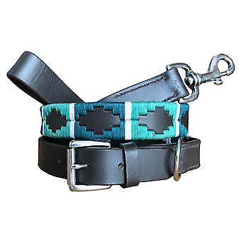 carlos diaz genuine leather  polo dog collar and lead set cdhkplc96