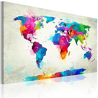 Artgeist Canvas Print Map Of The World An Explosion Of Colors