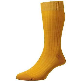 Pantherella Laburnum Merino Wool Socks - Bright Gold