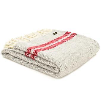 Tweedmill Pure New Wool Fishbone 2 Stripe Silver Grey & Watermelon Throw