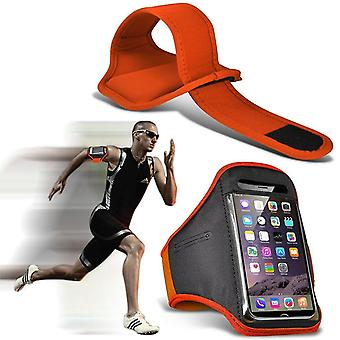Samsung Galaxy S9 XXLarge Orange Sports Armband Waterproof Fitness Phone Case