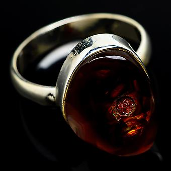 Mexican Fire Agate Ring Size 9.75 (925 Sterling Silver)  - Handmade Boho Vintage Jewelry RING7843