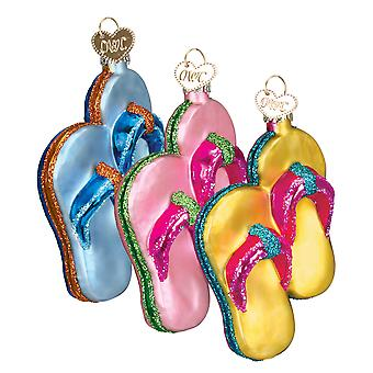 Old World Christmas Flip Flops Summer Sandals Glass Holiday Ornaments Set of 3