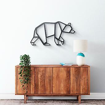 Arte da parede do metal - urso geométrico