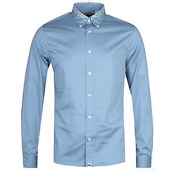 Hübsche grün slim Fit Marshall Carver blau Langarm Shirt