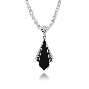 Art Deco Style Black Onyx & Marcasite Fan Drop Pendant Necklace in 925 Sterling Silver 214P296301925