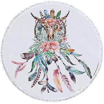 Floral Bull Skull and Dream Catcher Beach Towel